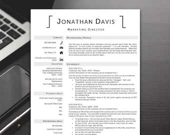 Resume Template Professional - Resume Template, Modern Resume Template, Word Resume Templates - RESUME TEMPLATE iNSTANT dOWNLOAD
