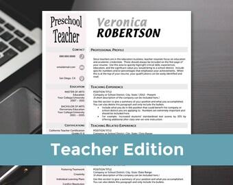 Teacher Resume - Teacher Resume Template, Word, Teacher Resume Cover Letter, Teaching Resume - RESUME TEMPLATE iNSTANT dOWNLOAD
