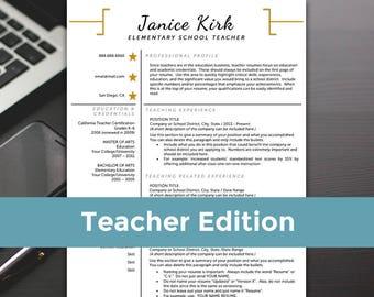 Teacher Resume Template - Teacher Resume Word, Teacher Resume Cover Letter, Teaching Resume - RESUME TEMPLATE iNSTANT dOWNLOAD