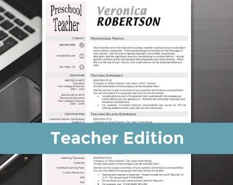 Teacher Resume Templates - Teacher Resume, Word, Teacher Resume Cover Letter, Teaching Resume - RESUME TEMPLATE iNSTANT dOWNLOAD