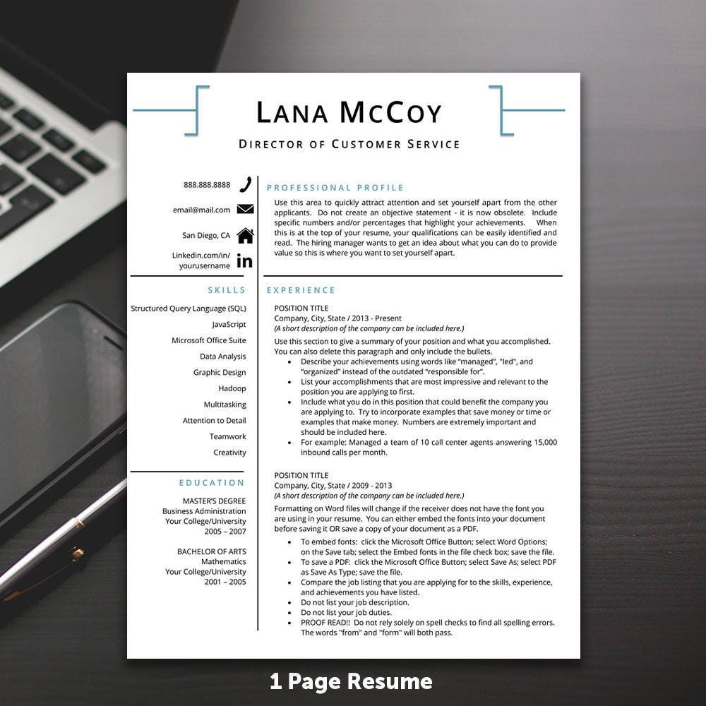 Professional Resume Template Microsoft Word: Resume Template Professional Resume Template MS Word