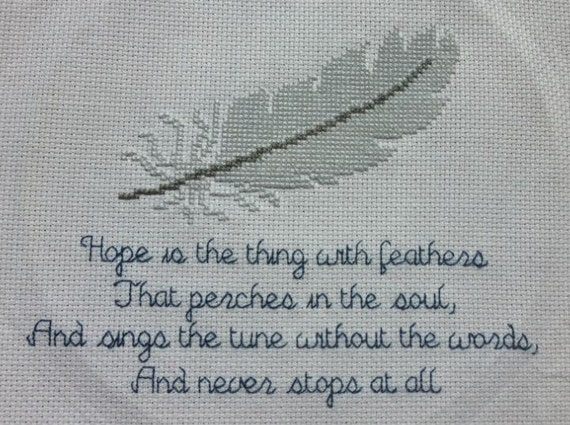 Emily Dickinsons Hope Is The Thing With Feathers Poem And Feather Cross Stitch Pattern