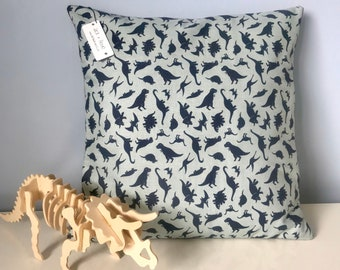Tiny Dino cushion covers | Fossil Rim 2 fabric by Riley Blake | Available in a variety of sizes | Blue or cream