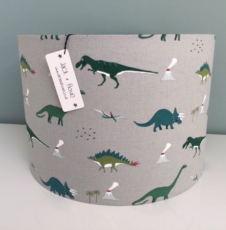 Dinosaur Drum Lampshade   Sophie Allport Fabric  Handmade image 0