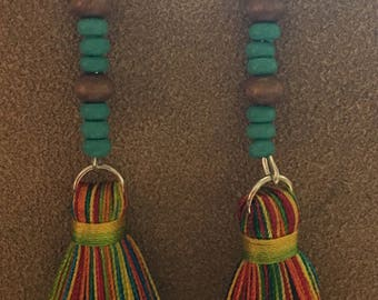 Multicolored tassle earrings