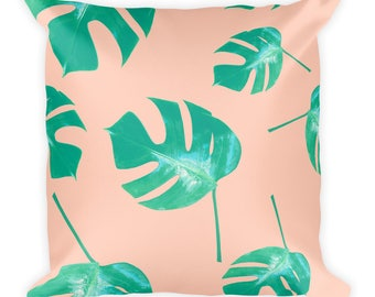 Pink Split Leaf Throw Pillow