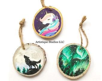 Handpainted Log Slice Ornaments, Christmas Tree Ornaments,Hand Painted Wood Ornaments,Art Lover Gift,Unicorn Lover Gift, Wolf Lover Gift