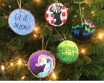 Log Slice Christmas Ornaments, Unicorn Ornament, Northern Lights, Reindeer, Snow and Merry and Bright Ornaments, Country Style Ornaments