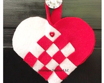 Heart Baskets with cute heart buttons, Red and White Party Favors, Christmas Decorations, Candy Baskets, Heart Party Supplies, candy holders