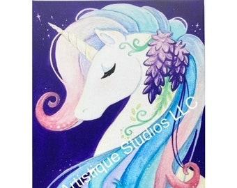 Wisteria Unicorn Canvas Art Print 16 x 20