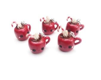 Peppermint Hot Chocolate Kawaii Charms, Mini Food Polymer Clay Charms, Hot Cocoa Mug Necklace Charms, Stocking Stuffers, Hygge Jewelry