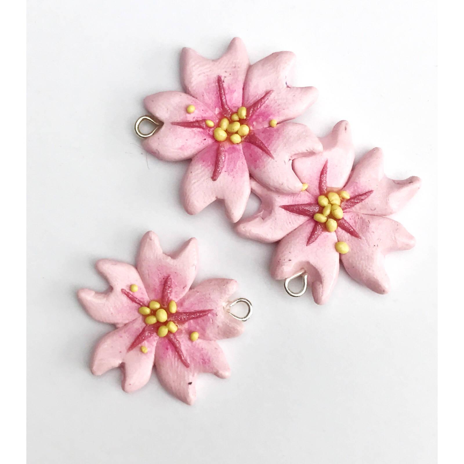 Cherry Blossom Sakura Polymer Clay Earrings