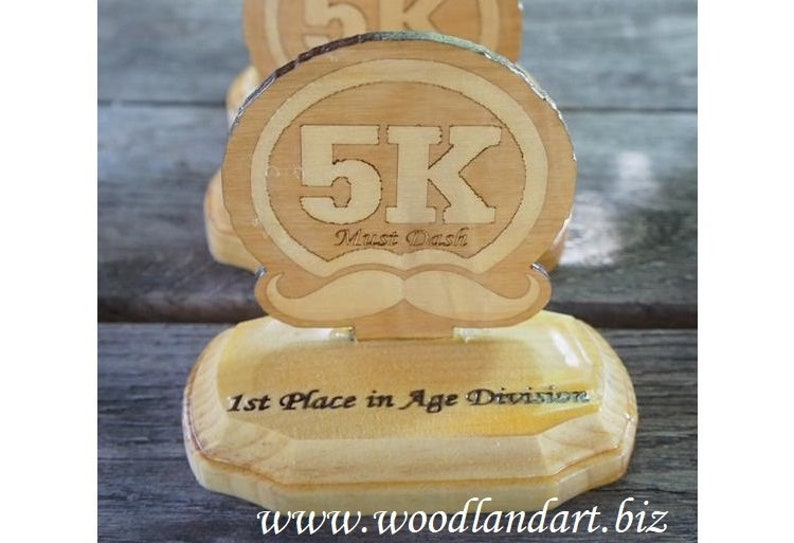Custom Wooden Trophies Uniquely Shaped Awards Laser Engrave image 0