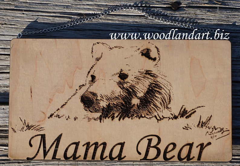 Mama Bear Wall Sign/Plaque You Can Personalize image 0