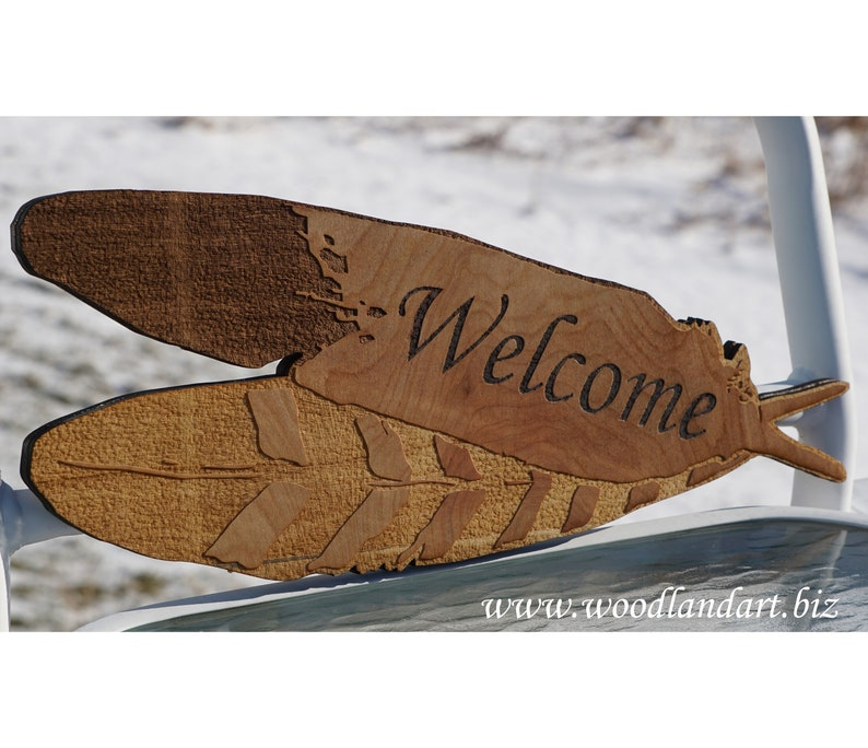 Eagle Feather Engraved Welcome Sign image 0