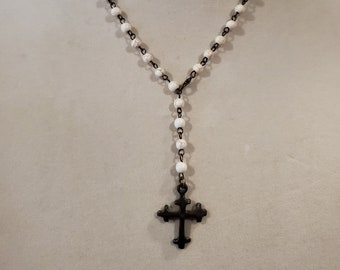 Cross necklace, bronze cross, howlite chain, adjustable, religious, rosary chain