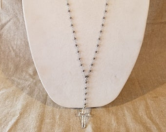 Cross necklace, silver cross, long necklace, y necklace, drop necklace, rosary style, grey beads, religious necklace