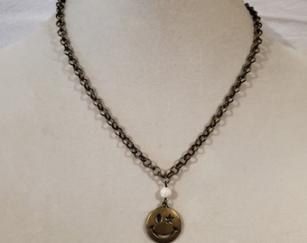 Bronze chain, bronze necklace, happy face, smiley face