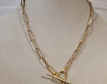 Gold plated, gold necklace, toggle necklace, toggle