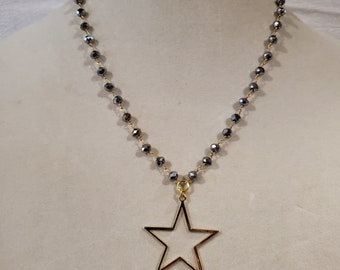 Star necklace, gold star, pyrite chain, chain necklace