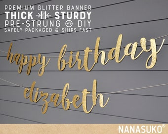 Happy Birthday banner with personalized name, Gold Glitter party decorations, custom birthday banner, cursive banner