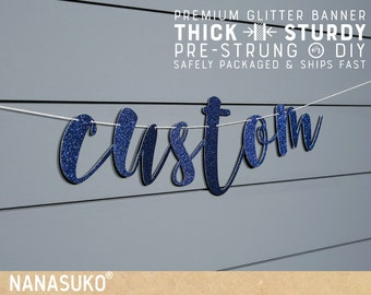 Custom Navy Blue banner, Personalized banner, Gold Glitter party decorations, cursive banner, regular or large size