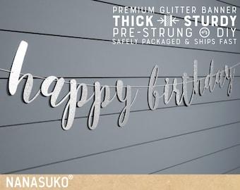 Happy Birthday Silver banner, Glitter party decorations, custom birthday banner, cursive banner