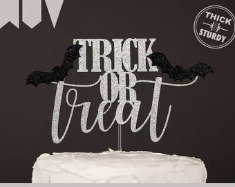 trick or treat cake topper, halloween cake topper, Glitter party decorations