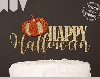 HAPPY Halloween cake topper, halloween cake topper with pumpkin, Glitter party decorations