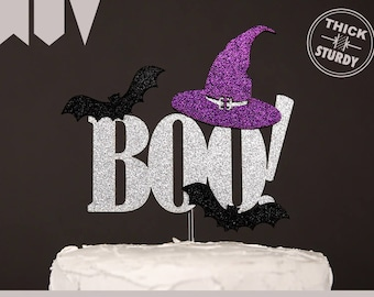 BOO! cake topper, halloween cake topper, Glitter party decorations