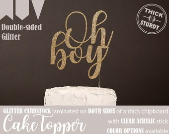 Oh boy cake topper, Gender reveal cake topper for baby shower, Gold Glitter party decorations, cursive topper