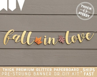 Gold Glittery Fall In Love Banner for Thanksgiving Holiday Party Decorations,Fall Theme Wedding Party Decor,Fall Autumn Mantle Home Decor