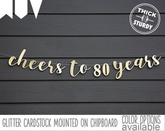 Cheers To 80 Years 80th Birthday Banner Happy Gold Glitter Party Decorations Custom Cursive