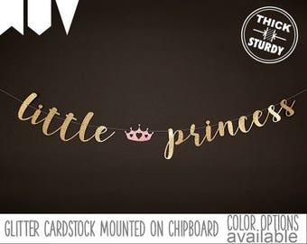 little princess banner, fairy tale baby shower, princess baby shower, royal princess birthday, glitter banners, cursive banner