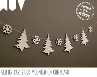 winter pine trees and snowflakes garland, woodland birthday, woodland baby shower, winter woodland, cursive banner