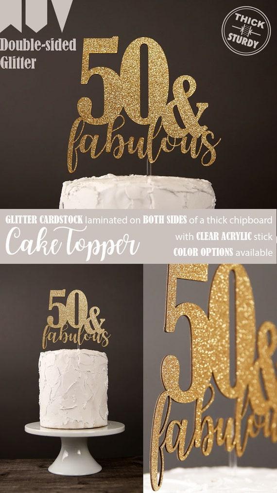 50 Fabulous Cake Topper 50th Birthday Milestone Glitter Party Decorations Cursive