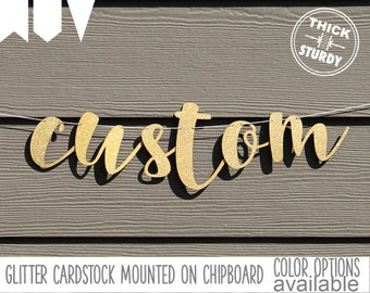 Custom banner, Personalized banner, Gold Glitter party decorations, cursive banner, regular size