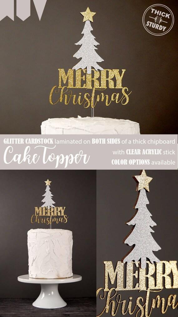 Gold Glitter Cake Topper Silver Cake Decoration Christmas Merry Christmas Cake Topper Christmas Decorations