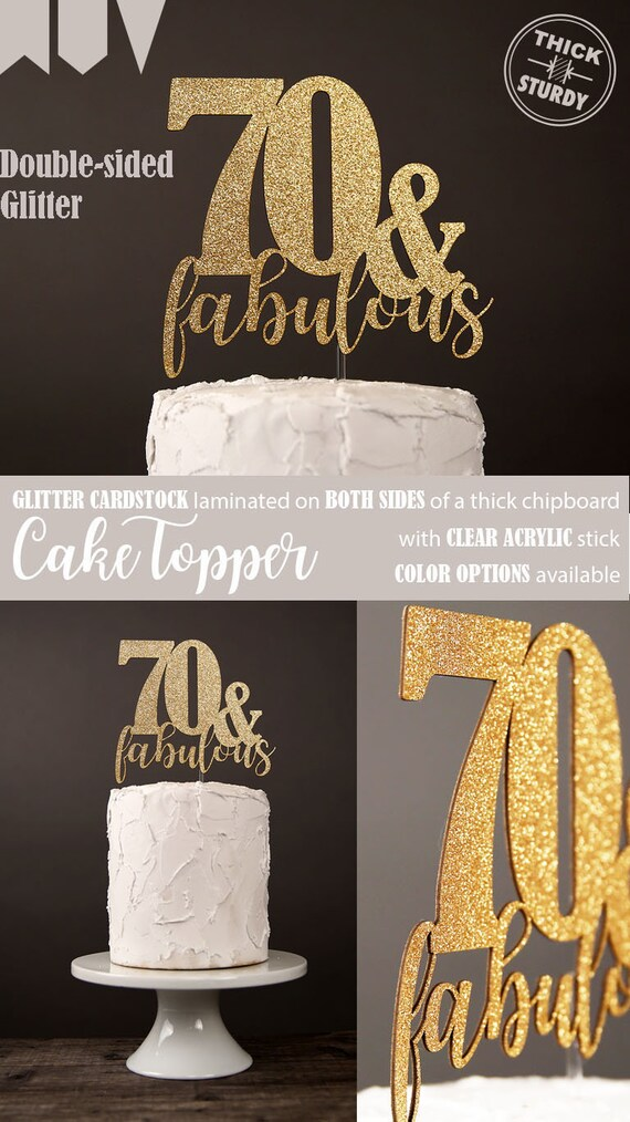70 Fabulous Cake Topper 70th Birthday Milestone Glitter Party Decorations Cursive