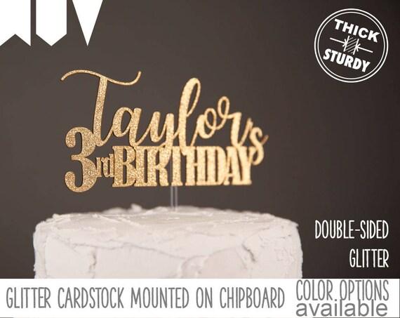 3rd Birthday Cake Topper Personalized Custom