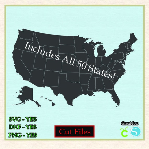 United States Map States Cut File Vector Svg Dxf Png