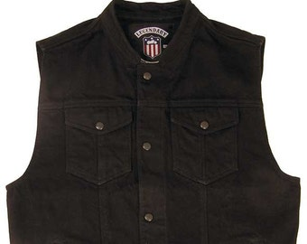 731a1544258 Legendary USA Revolution Denim Vest. Made in USA. Biker Jean Vest. Black  Vest.