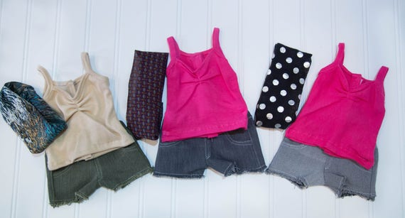 Custom made denim short,tank,and infinity scarf for 18in dolls such as American Girl,Our Generation,and My Life