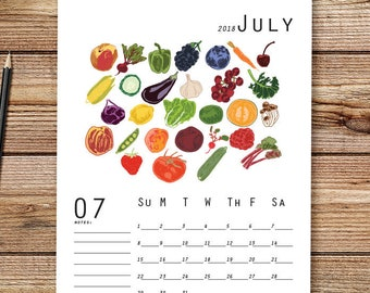 2018 Garden Calendar, Desk Calendar, 2018 Wall Calendar, Meal Planner, Monthly Calendar, Illustrated Calendar, Food Calendar, DIY Calendar