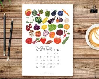 Seasonal Calendar, 2018 Calendar, Printable Calendar, Monthly Calendar, Gift for Gardener, Illustrated Vegetable Calendar, Vegan Gift