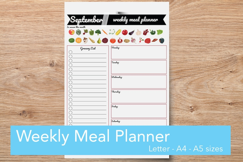 Weekly Schedule Grocery List & Vegan Meal Planner Printable, Shopping and  To Do List Menu Planner, Meal Planning Printable