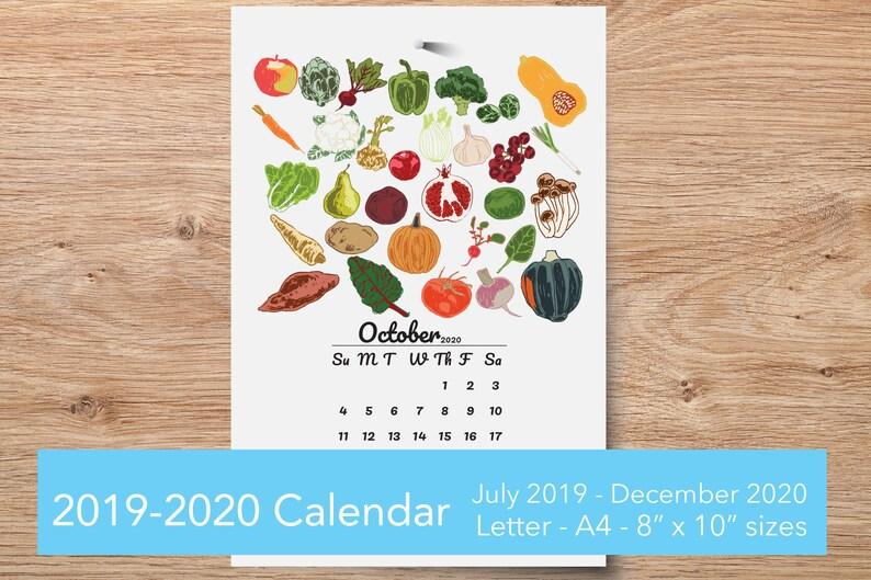 Food Calendar 2020 Printable Wall Calendar 2020 Seasonal Food print kitchen   Etsy