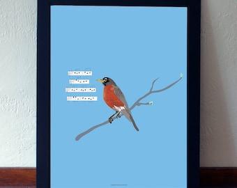 Robin Print - Song Bird Print - Nature Print - Bird Wall Art - Robin Illustration - Bird lover gift - Bird Decor - Bird Illustration