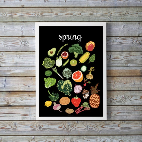 4 Seasons Wall Art Seasonal Vegetable Print Spring Kitchen Decor Seasonal Produce Calendar