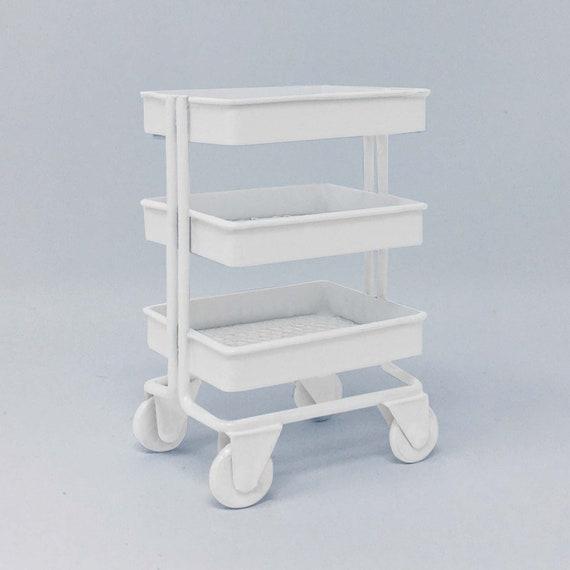1//12 Miniature 3 Tier Storage Shelf w// 4 Wheels for Dollhouse Decor White